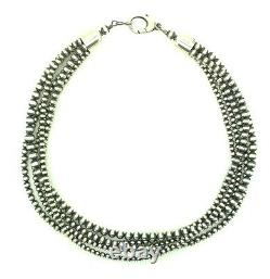 18 Beautiful Navajo Pearls Sterling Silver 5-Strand Beads Necklace