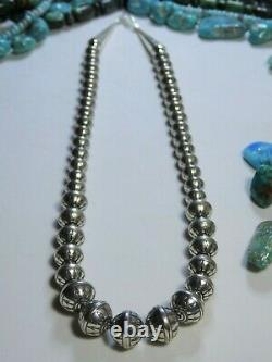 18' PEACE ARROW Totem NAVAJO PEARLS Stamped STERLING Silver Graduated Necklace
