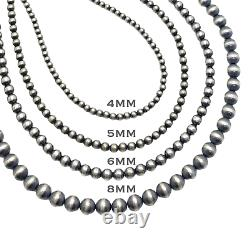 20 Navajo Pearls Sterling Silver 6mm Beads Necklace