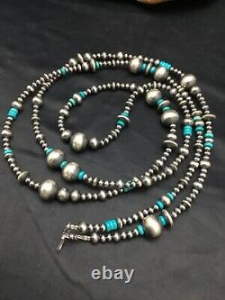 48in Long Navajo Pearls Native American Sterling Silver Turquoise Necklace 3098