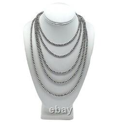 60 Navajo Pearls Sterling Silver 5mm Beads Necklace