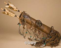 AUTHENTIC Native American NAVAJO Hand-Made Deer Skin Quiver and Arrows Set