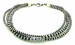 Beautiful Navajo Pearls Sterling Silver 3-Strand Beads Necklace 18