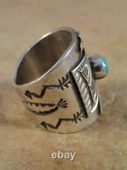 Beautiful Navajo Sterling Silver & Turquoise Cigar Band Ring sz 7 1/2