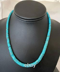 Blue Turquoise Heishi Sterling Silver Necklace Navajo Pearls Stab Graduated 1850