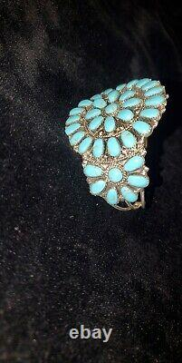 C101 Navajo Handmade Turquoise Cluster Sterling Silver Bracelet J. Williams