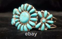 C54 Native American Navajo Handmade Sterling Silver Turquoise Cluster Bracelet