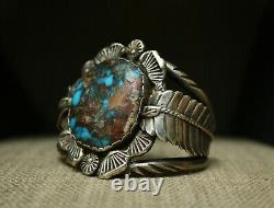 Carlos White Eagle Native American Bisbee Turquoise Sterling Silver Bracelet