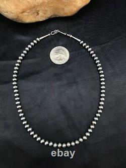 Childrens Native American Navajo Pearls 5 mm Sterling Silver Bead Necklace 12