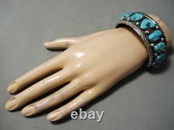 Dynamic Vintage Navajo Morenci Turquoise Sterling Silver Bracelet Old