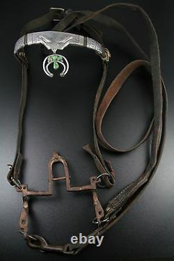 EARLY 1900s NAVAJO COIN SILVER & TURQUOISE HORSE HEADSTALL / BRIDLE