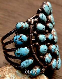 FINEST Museum displayed MARK CHEE Navajo Sterling & #8 Turquoise Cuff Bracelet
