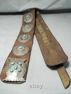 Huge Heavy Museum Vintage Navajo Turquoise Sterling Silver Concho Belt