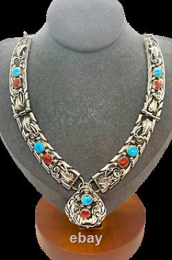 Keith James Navajo Sterling Silver Turquoise Coral Squash Blossom Bib Necklace
