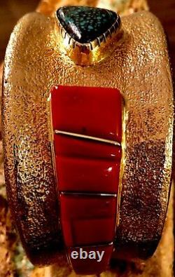 MASSIVE 244+G WES WILLIE Solid 14k Gold LANDER BLUE Turquoise & Red Coral Cuff