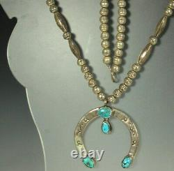 NAVAJO STERLING NAJA Necklace 26.5 1920s TURQUOISE Bench Pearls & Melons SIGNED