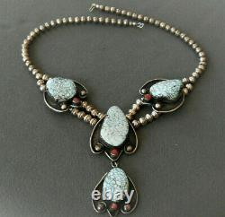Native American Dry Creek Webbed Turquoise & Coral Sterling Silver Bead Necklace