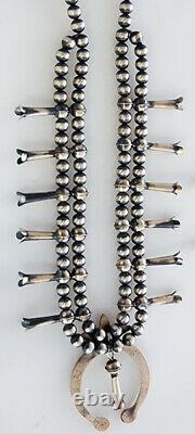 Native American Handmade Sterling Silver Squash Blossom Necklace and Earrings