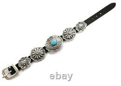 Native American Navajo Handmade Sterling Silver Concho Turquoise Leather Bracele