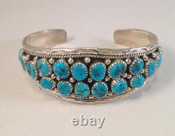 Native American Navajo Handmade Turquoise Cluster Sterling Silver Cuff Bracelet