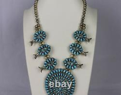 Native American Navajo J. M. Begay Turquoise & Silver Squash Blossom Necklace