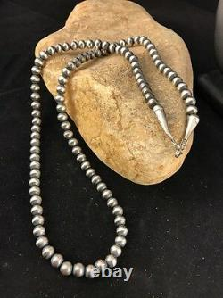 Native American Navajo Pearls 4 mm Sterling Silver Bead Necklace 22 Sale 338