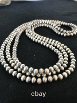 Native American Navajo Pearls 6 mm Sterling Silver Bead Necklace 60 Sale Gift