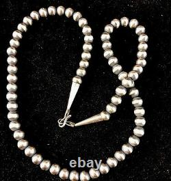 Native American Navajo Pearls 7mm Sterling Silver Bead Necklace 24 Sale 391