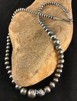 Native American Navajo Pearls Graduated Sterling Silver Bead Necklace 20 341