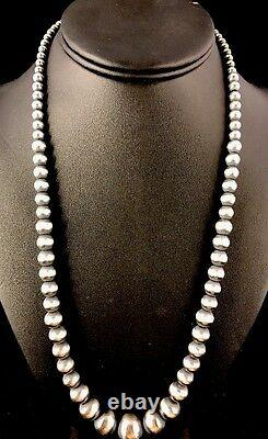 Native American Navajo Pearls Graduated Sterling Silver Bead Necklace 24 341