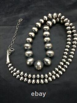 Native American Navajo Pearls Graduated Sterling Silver Bead Necklace 26