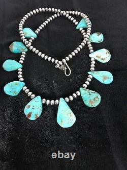 Native American Navajo Pearls Sterling Silver Blue Turquoise Necklace 306