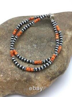 Native American Navajo Pearls Sterling Silver Orange Spiny Oyster Bracelet