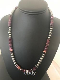 Native American Purple Spiny Oyster Turquoise Sterling Silver Necklace 20