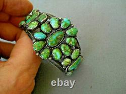 Native American Sonoran Gold Turquoise Cluster Sterling Silver Cuff Bracelet