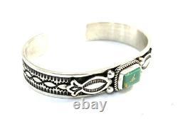 Native American Sterling Silver Navajo Kingman Turquoise Cuff Bracelet