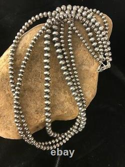 Native American Sterling Silver Navajo Pearls Necklace 21 3 Str Gift 4,5,6 mm
