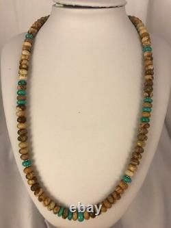 Native American Sterling Silver Turquoise Picture Jasper Men's Necklace 8092