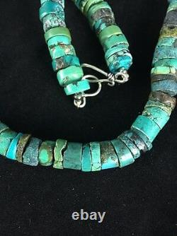 Native American Turquoise 8 mm 20 Heishi Sterling Silver Bead Necklace 1135