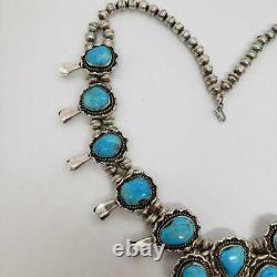 Native Navajo 166g Vintage Squash Blossom Sterling Silver Turquoise Necklace