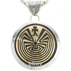 Native Navajo Hopi Style Sterling Silver Gold Man in the Maze Pendant Necklace