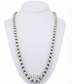 Navajo Antiqued Sterling Silver DESERT PEARL NECKLACE 24 Graduated 6-12mm Beads