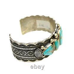 Navajo Handmade Sterling Silver Kingman Turquoise Cuff Bracelet C H