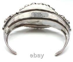 Navajo Handmade Turquoise Cluster Sterling Silver Bracelet Juliana Williams
