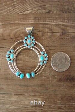 Navajo Indian Sterling Silver Turquoise Naja Pendant