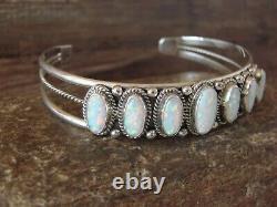 Navajo Indian Sterling Silver White Opal Row Bracelet