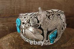 Navajo Indian Turquoise Sterling Silver Wolf Cuff Bracelet Thomas Yazzie