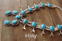 Navajo Jewelry Turquoise Squash Blossom Necklace by Jackie Cleveland