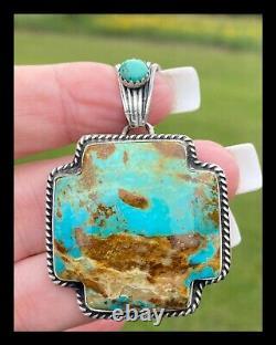 Navajo Large Blue Kingman Turquoise Plus Pendant Bernita Begay
