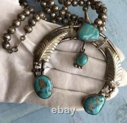 Navajo Native American Indian Turquoise Sterling Silver Squash Blossom Necklace